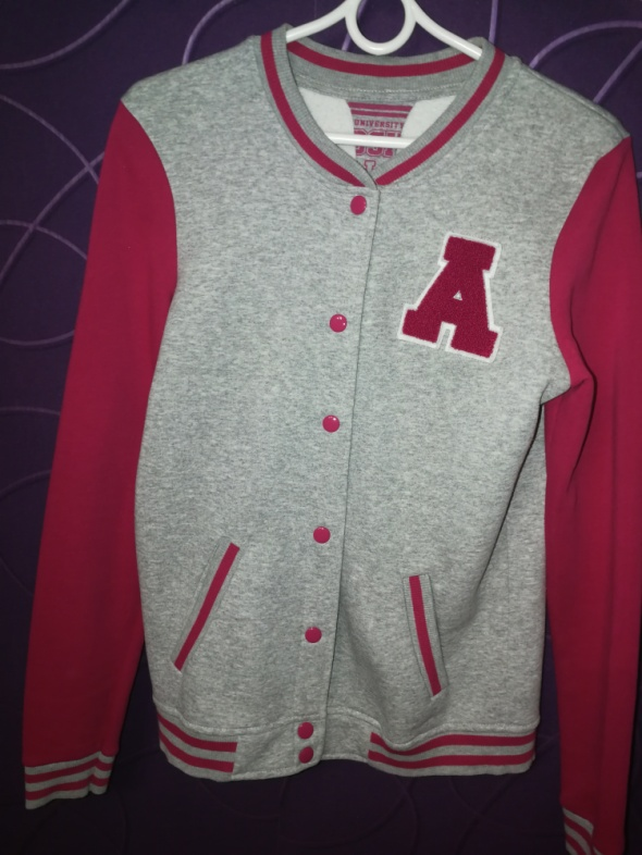 Bluza bejsbolówka Bershka M L szaro różowa