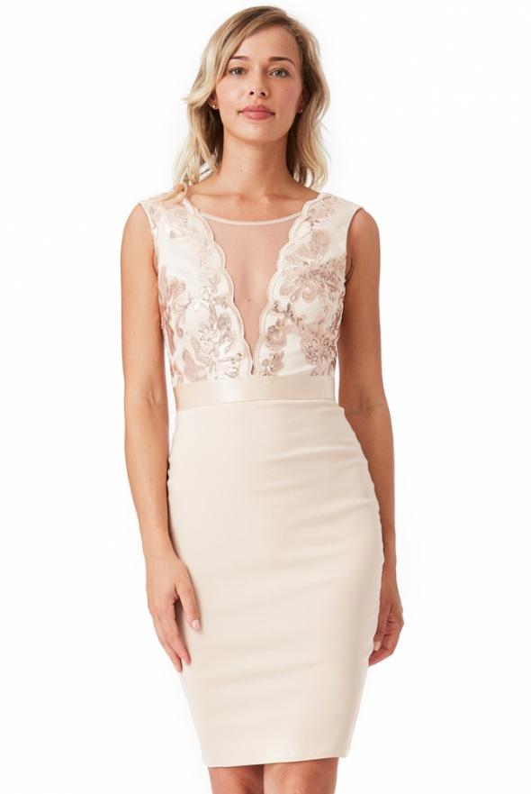 5328b1b5f3 Suknie i sukienki Beżowa ołówkowa sukienka wieczorowa midi z głębokim  dekoltem z cekinami i siateczką