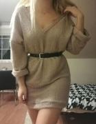 Sukienka sweterkowa swetrowa oversize pudrowy róż Mosquito...