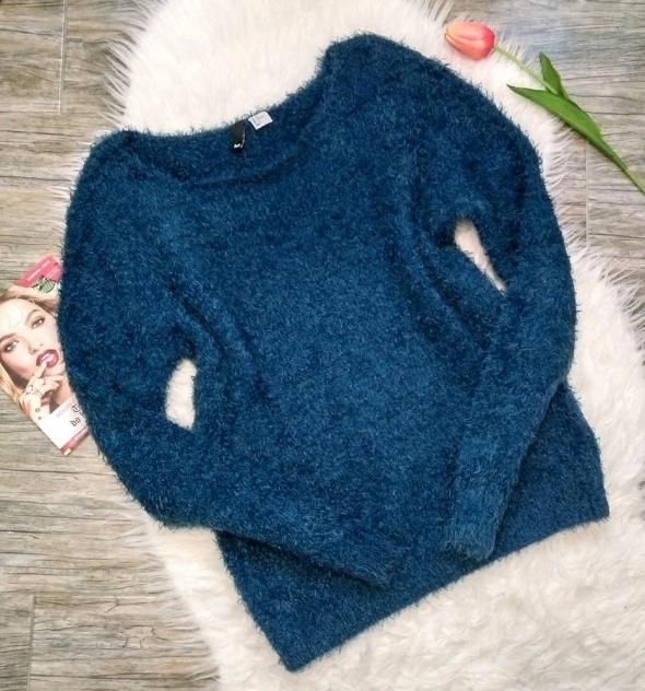 H&M cieplutki włochaty sweterek ciemny turkus M 38