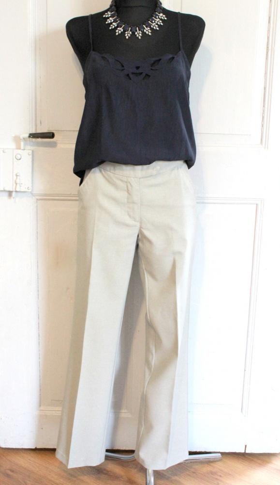 eleganckie beżowe spodnie r SM...