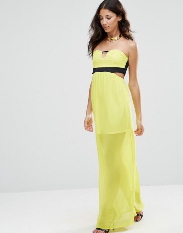 Sukienka MAXI TWIN SISTER neonowa limonka 38