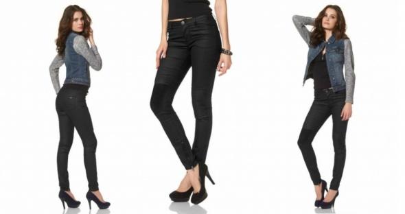 NOWE woskowane spodnie czarne ala skóra S 36 zara