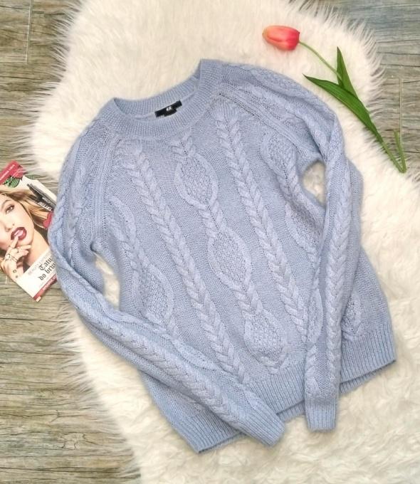 H&M śliczny sweterek baby blue pleciony S 36