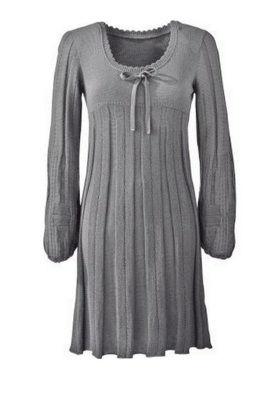 BONPRIX szara sukienka ażurowa z dzianiny r 38