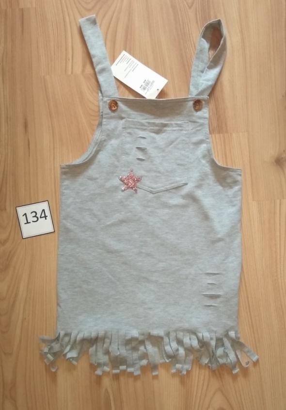 Nowa szara sukienka na ramiączkach szelkach szara 134
