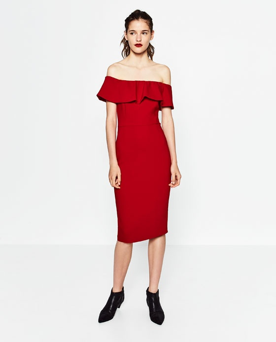Czerwona hiszpanka sukienka zara s lub m...