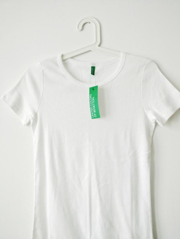 Koszulka Benetton S M round neck minimalizm bawełna