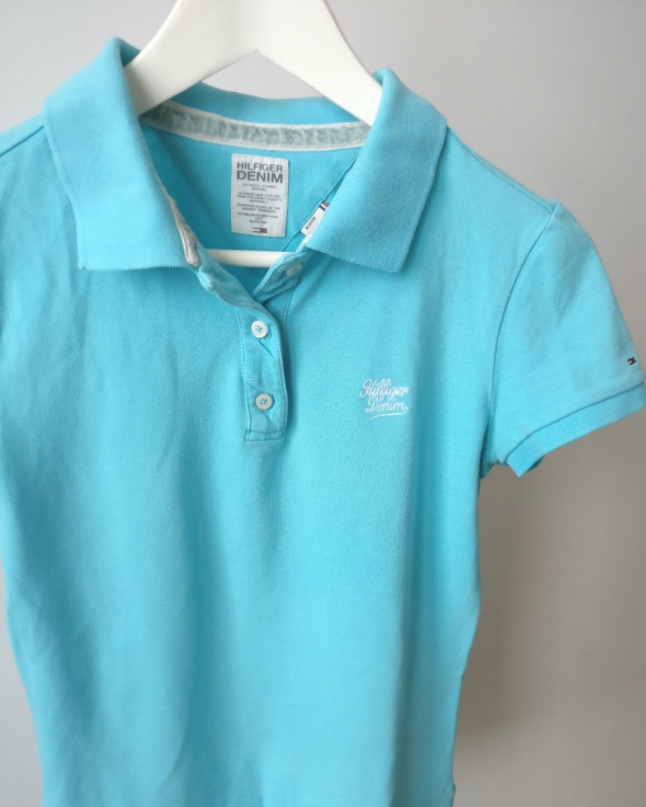 Tommy Hilfiger denim niebieska koszulka polo polówka S M