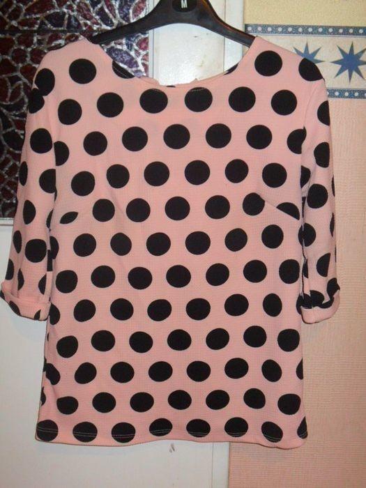 Bluzka kropki groszki kokardki kokardy pudrowy róż SM