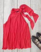 H&M pomarańczowy top plisowany bluzka choker 34 36...