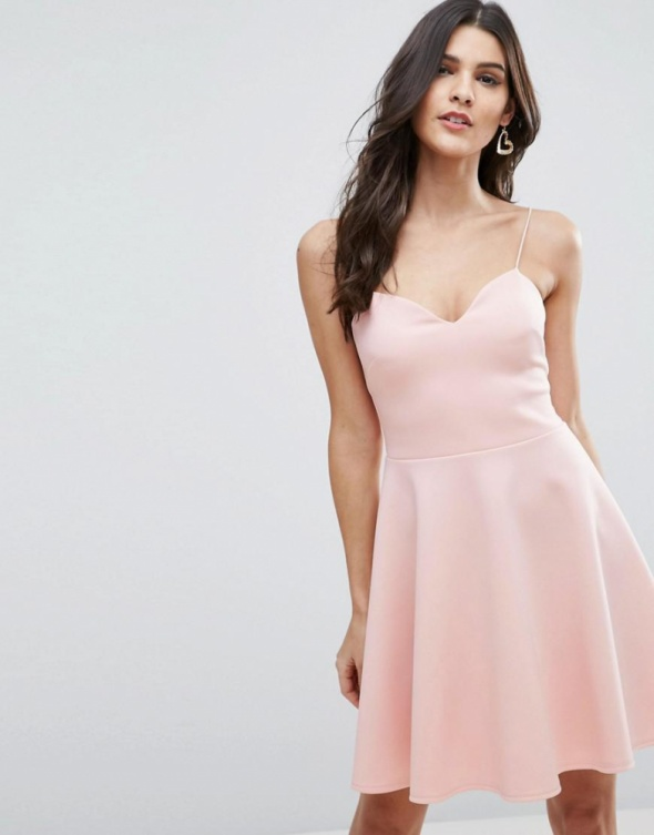 Rozkloszowana sukienka ASOS pudrowy róż 36...