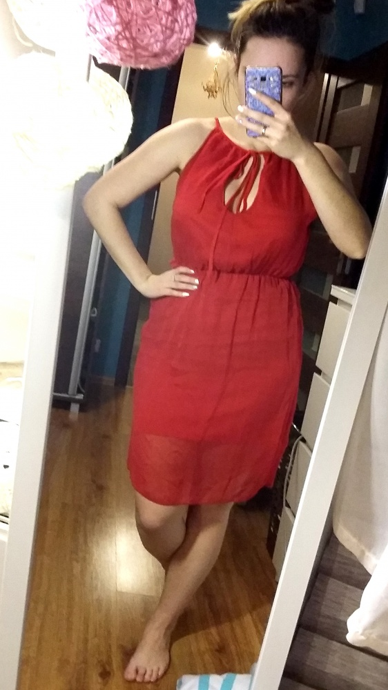 Sukienka czerwona M wiązanie