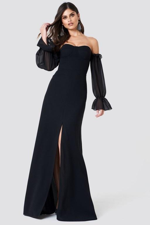Asos suknia tiul rękawy maxi mała czarna...