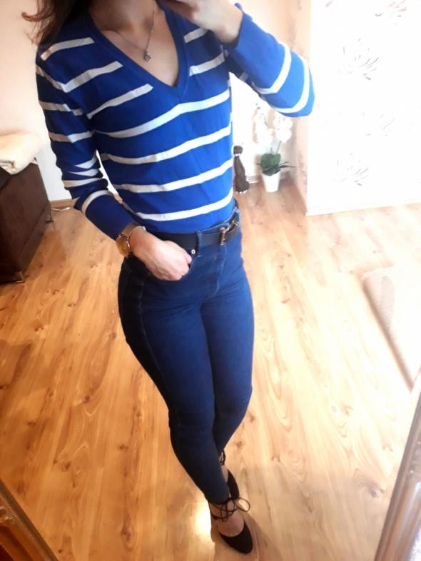 niebieski sweterek w białe paski ciepły xs s