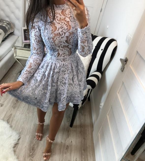 Suknie i sukienki Szara koronkowa sukienka