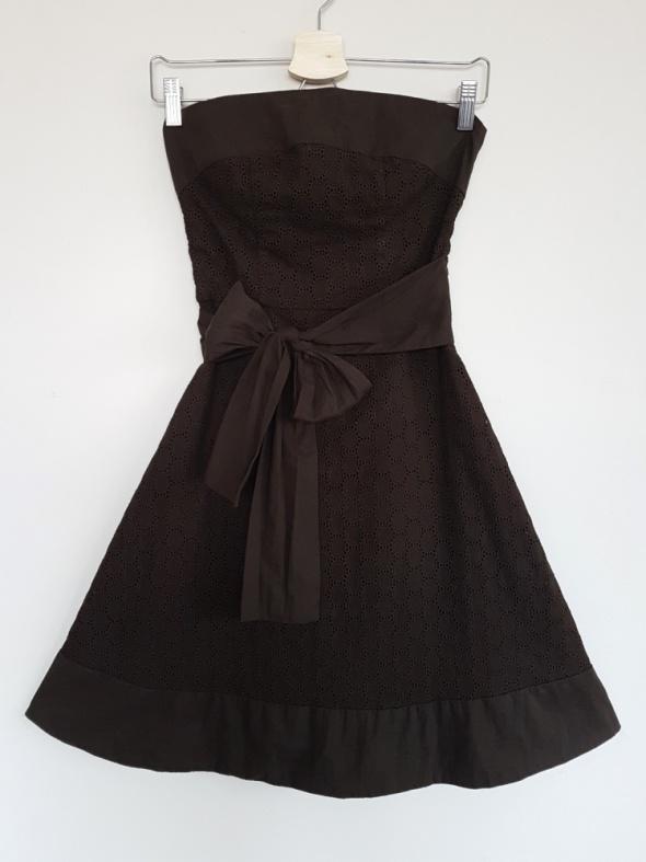 Suknie i sukienki Sukienka Orsay brązowa princeska haftowana z kokardą XS 34