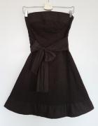 Sukienka Orsay brązowa princeska haftowana z kokardą XS 34...
