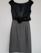 Ołówkowa sukienka Orsay z kokardą bimaterial pepitka XS 34...