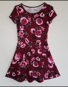 Sukienka H&M burgund w kwiaty róże 34 XS
