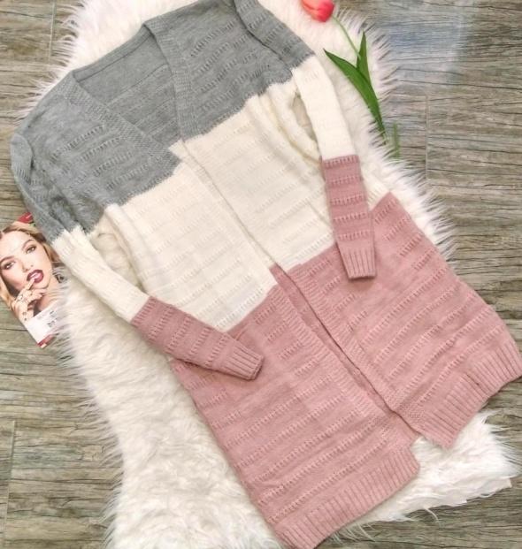Milutki długi pastelowy sweter kardigan kieszenie M 38