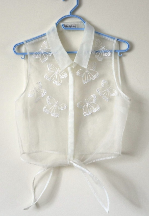 Koszule Crop top koszula mgiełka motyle L