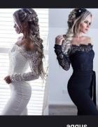 elegancki kombinezon koronkowy biały i czarny