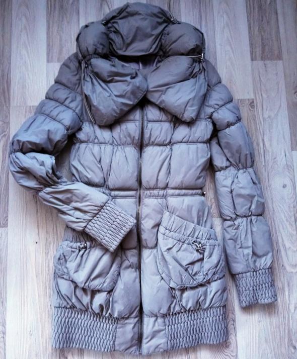 Szary popielaty płaszczyk płaszcz zimowy...