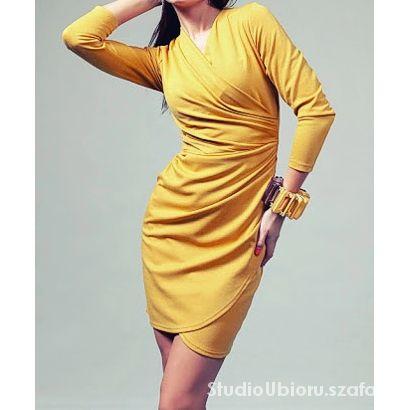 Kopertowa sukienka z rękawem rozmiar 46