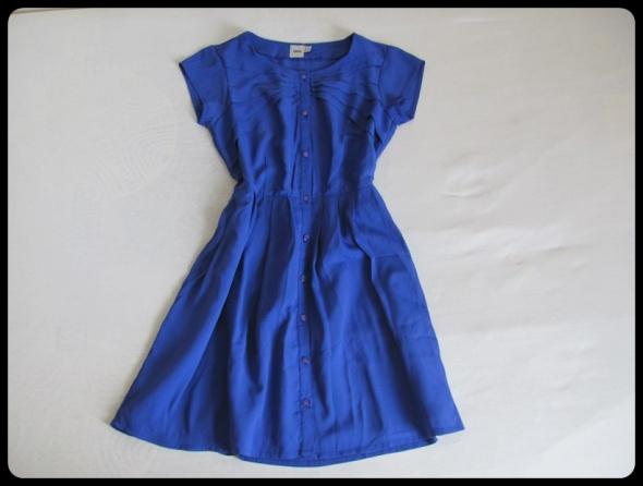 sukienka ASOS w idealnym stanie M 38 kobaltowa z zakładkami