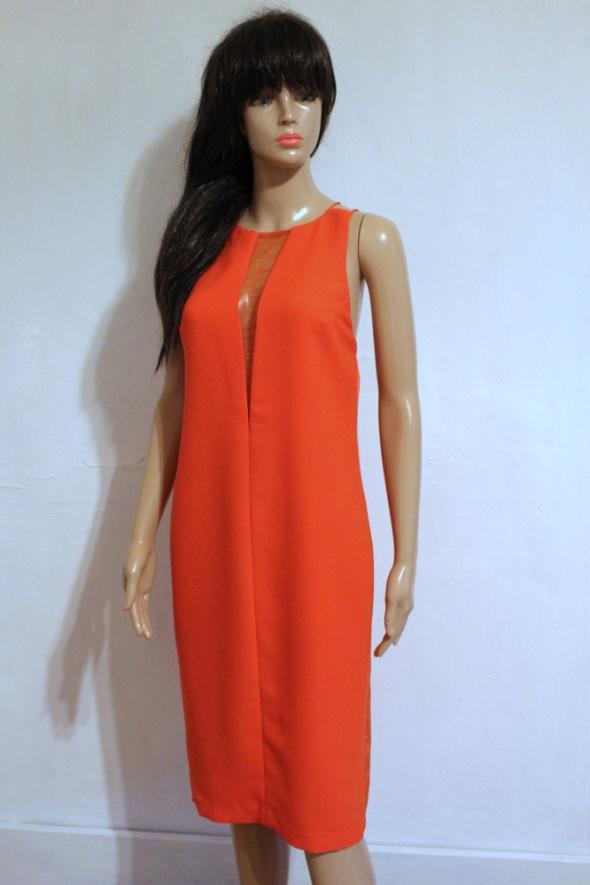 Suknie i sukienki Pomarańczowa sukienka na ramiączkach gołe plecy r 42