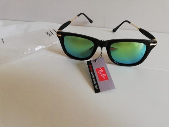Okulary RayBan lustrzanki czarne oprawki