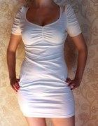 H&M Sukienka pudrowy róż nude bufki brzoskwiniowa...