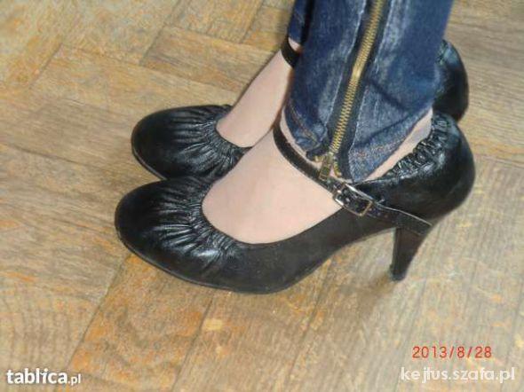 Czółenka Czarne pantofle czółenka jesienne 36