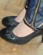 Czarne pantofle czółenka jesienne 36