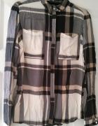 Top Secret beżowa luźna koszula w kratę stylowa...