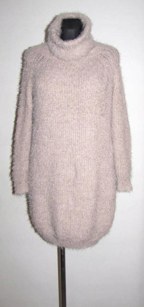ATMOSPHERE sweter golf długi włochacz nude r 38 40