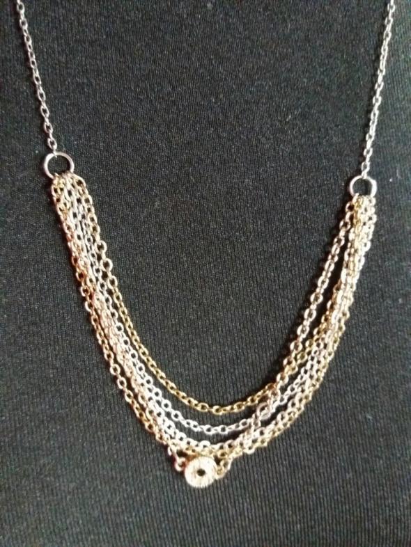 Naszyjnik łańcuszki multi złoto srebro...