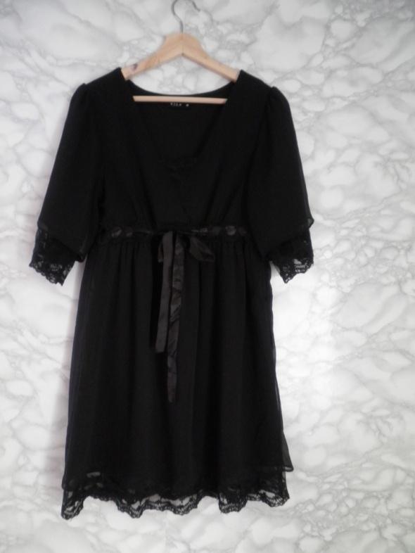 Vila elegancka czarna sukienka odcinana koronka M...