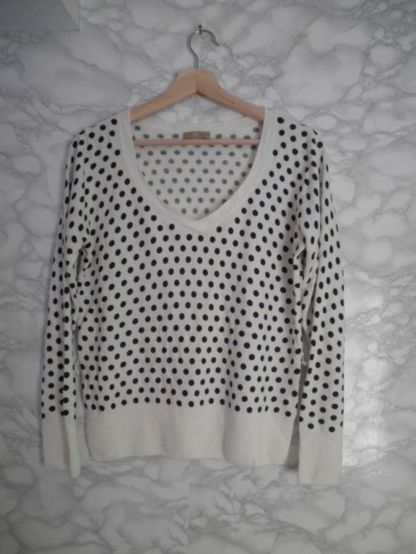 TU biały kremowy sweter sweterek z dekoltem w grochy kropki 42 ...