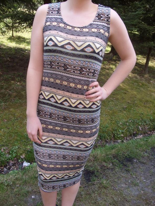 Select sukienka midi aztec wzory azteckie bodycon dopasowana 36...