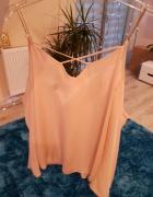 koszula mgiełka delikatna asymetryczna koszula pudrowy róż