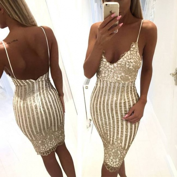 Sexy złota sukienka na ramiączkach