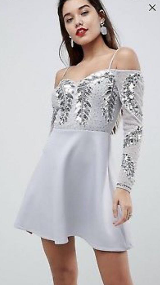 Cekinowa sukienka open shoulder Asos