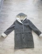 Wełniany szary plaszcz plaszczyk kurtka jesienny...