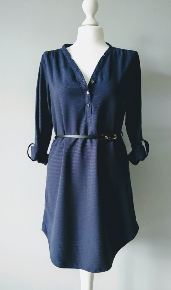 Granatowa sukienka koszulowa S koronka