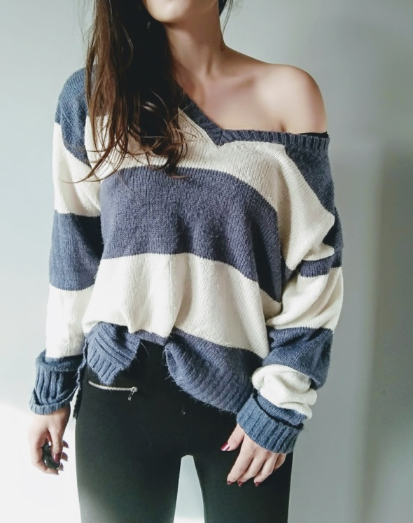 Sweter oversize cieply pasy S M L