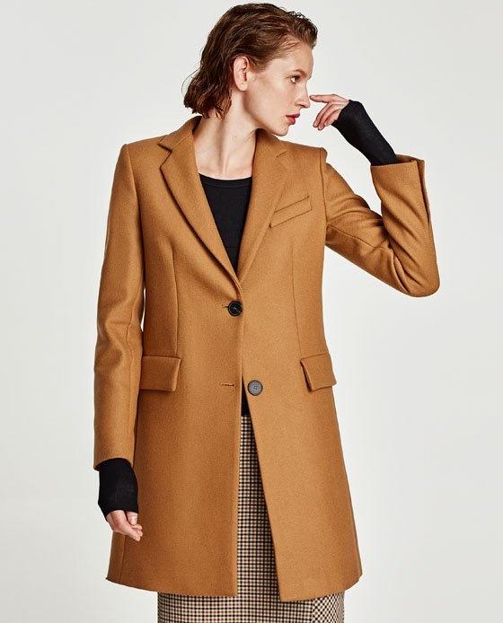 Ubrania Zara wełniany płaszcz o męskim kroju S