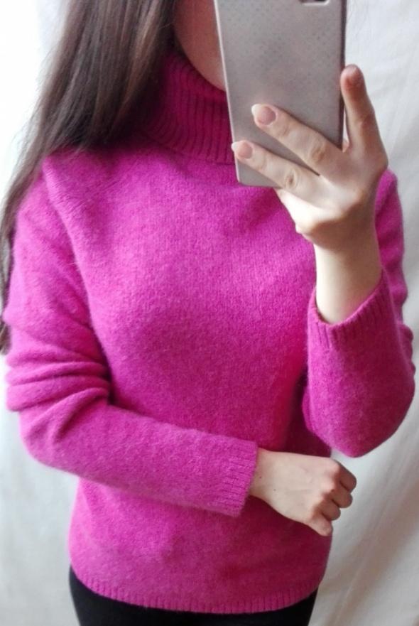 Sweter z golfem różowy rozmiar XS S Wełna Angora