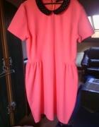 sukienka reserved bombka kolnierzyk cekiny róż